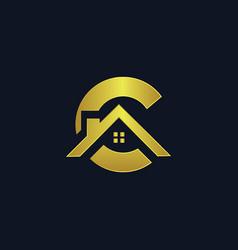 Letter c shape house logo vector