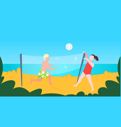 man woman playing volleyball couple with volley vector image