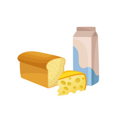 milk package fresh cheese and bread dairy and vector image