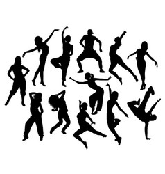 Modern dancer expressive silhouette vector