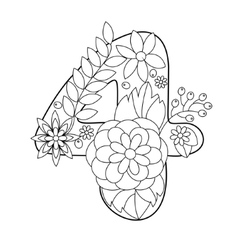 Number 4 coloring book for adults vector