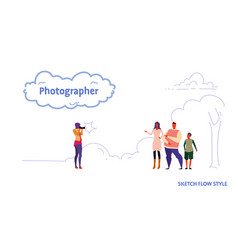 photographer taking a picture of happy family vector image