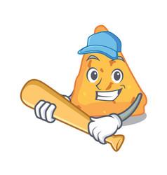 Playing baseball nachos character cartoon style vector