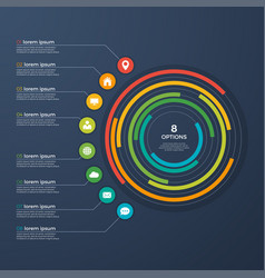 Presentation infographic circle chart 8 options vector