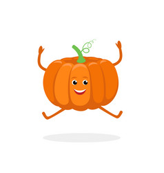 pumpkin cartoon character isolated on white vector image