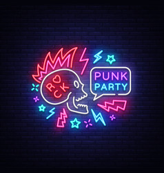 Punk party neon sign rock music logo vector