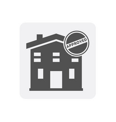 Quality control at home icon with building sign vector