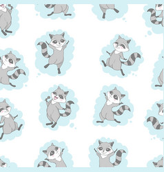 raccoon cute seamless pattern cartoon background vector image