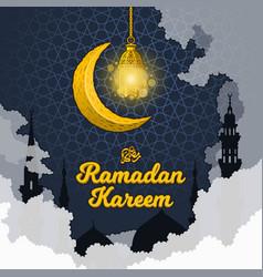 ramadan kareem with luminous lantern vector image