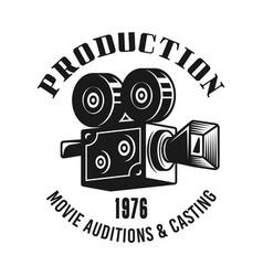 retro camera emblem label badge or logo vector image