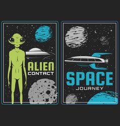 Retro posters with alien and ufo cards vector