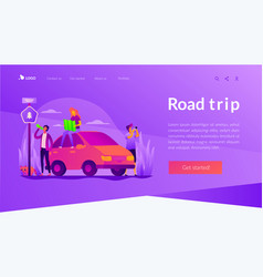 road trip landing page template vector image