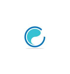 round c wave water logo vector image