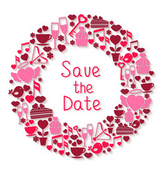 save date romantic circular symbol vector image