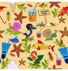 Seamless pattern Plants insects and fungi vector