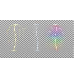 set colored lightning bolts on transparent vector image