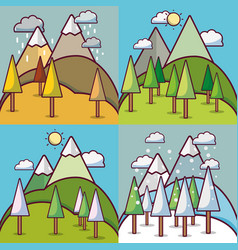 set four weather season with mountains and trees vector image