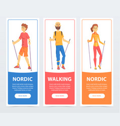 Set of banners with people nordic walking health vector