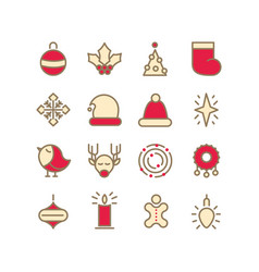 set of christmas design style decorative icons vector image