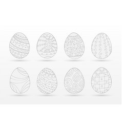 set of drawing easter eggs - doodle style vector image