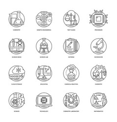 Set of science and technology line icons vector