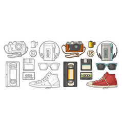 Set retro technology object vintage color black vector