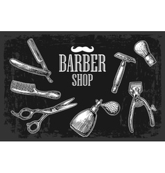 Set tool for BarberShop with logotype vector