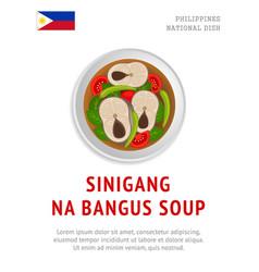 Sinigang na bangus soup national filipino dish vector
