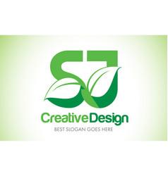 Sj green leaf letter design logo eco bio leaf vector