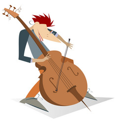 Smiling cellist isolated on white vector