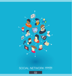 Society integrated 3d web icons digital network vector