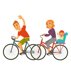 Sportive family rides bicycles with baby isolated vector