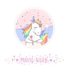 Sticker with unicorn vector