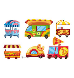 street fast food set mobile food cars pizza vector image