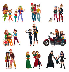subcultures families cartoon set vector image