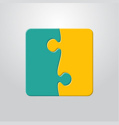 Two piece puzzle 2 step puzzle jigsaw pieces vector