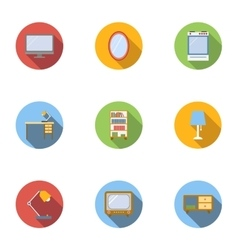 Type of furniture icons set flat style vector