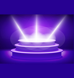 Violet Illuminated stage podium for award ceremony vector