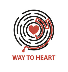 way to heart in maze vector image