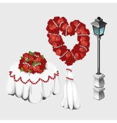Wedding table lamp and bouquets roses vector