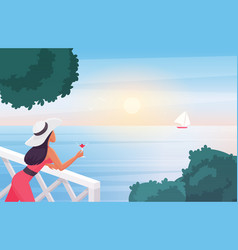 woman enjoying sunset holding wine glass vector image