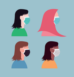 Women in every race wearing mask for protection vector