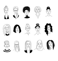 womens head background grunge line drawing doodle vector image
