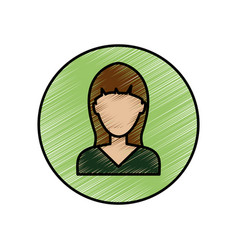 Young woman profile vector