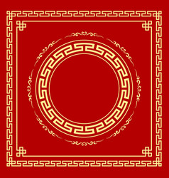 chinese frame style on red background vector image vector image