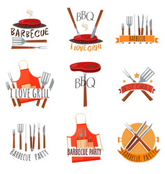 barbecue party label set vector image vector image