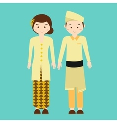 couple wear malaysia malaysian traditional clothes vector image