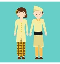 Couple wear malaysia malaysian traditional clothes vector