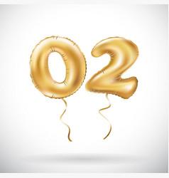 golden number 02 zero two metallic balloon party vector image