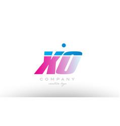 xo x o alphabet letter combination pink blue bold vector image vector image